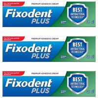 3 Fixodent Plus Dual Protection Denture Adhesive Cream Foodseal Antibacterial 40