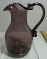 """mt-7 HAND BLOWN SMOKEY COLOR SMALL PITCHER EWER, 5"""" HIGH"""
