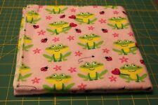 "Handmade  Flannel Receiving / Swaddle blanket~~FROGS/PINK~~36"" x 36"""