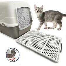 CatCentre® Luxury Hooded Cat Litter Tray Box + Sifting Large Mat Grey Bundle Set