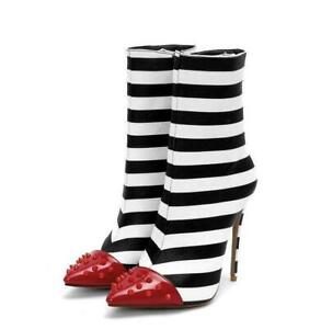 Women High Heels Striped Ankle Boots Red Rivet Pointed Toe Stiletto Shoes Party