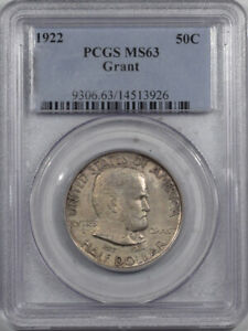 1922 GRANT COMMEMORATIVE HALF DOLLAR - PCGS MS-63