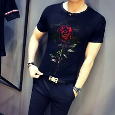 Men's Slim fit Floral printed Crew neck T shirts Short sleeve Nightclub wear New