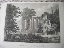 1800s Original James Basire sculp W H Wood del Etching Fountains Abbey PD
