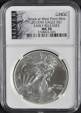 2013-(W) Silver American Eagle NGC MS70 Early Releases Struck at West Point Mint
