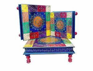 Set of 3  Wooden Puja Chowki Patra Bajot Floral Painting Decorative Table