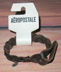 MENS AEROPOSTALE VINTAGE BROWN LEATHER ADJUSTABLE BRACELET