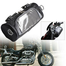 Black Goldfire Motorcycle Fork Bag PU Leather Handlebar Tool Pouch Sissy Bar Roll Bag with Extra Strength Straps