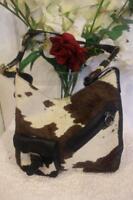CLAUDIA FIRENZE CALF HAIR EMBOSSED LEATHER  BAG TOTE (pu120