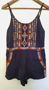 TIGERLILY Ladies Designer Navy/Rainbow Embroidered Sleeveless Romper size 8 EUC