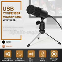 🔥 USB Condenser Microphone Recording Audio Studio Brocasting w/ Tripod Stand