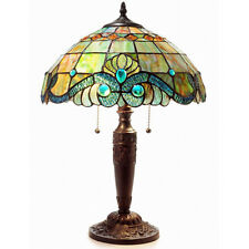 Table Lamp Vintage Tiffany Style Green Stained Glass Shade w/ Pearls