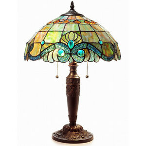 """Table Lamp Vintage Tiffany Style Green Stained Glass Shade Bronze Finish 25"""" H"""