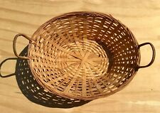 Vintage Oval Woven Wicker Basket w/ Handle decor design storage 14 x10 x 5