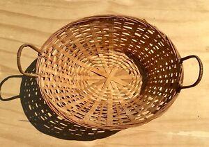 Vintage Oval Woven Wicker Basket w/ Handle decor design storage 14 x10 x 5