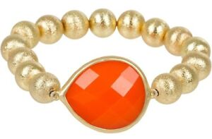 NEW Trendy Tangerine Orange Teardrop and Goldtone Stardust Bead Stretch Bracelet