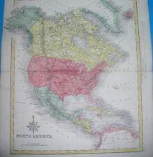 1849 ORIGINAL MAP TEXAS UNITED STATES CALIFORNIA FLORIDA NEW YORK MEXICO CANADA