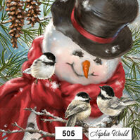 (505) TWO Individual Paper Luncheon Decoupage Napkins - SNOWMAN, CHICKADEE BIRDS