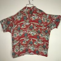 Pineapple Connection Men's 3XB Big and Tall Hawaiian Shirt Red floral button