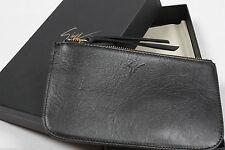 GIUSEPPE ZANOTTI Black Leather Pouch Case Clutch Wristlet Wallet, NEW $475