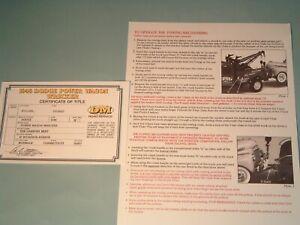Danbury Mint Paperwork 1946 DODGE POWER WAGON WRECKER TITLE & CARE INSTRUCTIONS