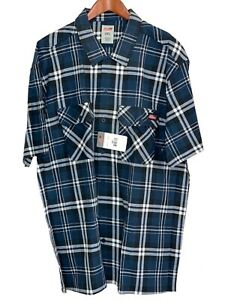 NWT Dickies Mens 2XL Short Sleeve Blue Plaid Button Up Rugged Shirt
