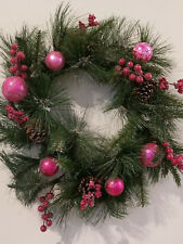 Fall Winter Christmas Holiday Wreath 22 in Electric Lights Red Balls Beads