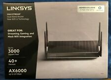 🔥Linksys MAX-STREAM Dual-Band WIFI 6 Router AX6000 Black BRAND NEW MR9610🎄HOT!
