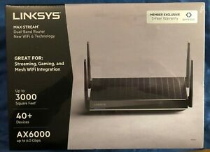 🌟Linksys MAX-STREAM Dual-Band WIFI 6 Router AX6000 Black BRAND NEW MR9610🌟HOT!
