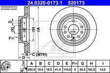 2x Bremsscheibe für Bremsanlage Hinterachse ATE 24.0320-0173.1