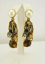 Oscar de la Renta Faux Pearl and Crystal Drop Earrings MADE IN USA
