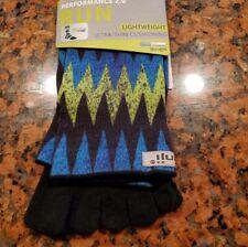 Injinji Blue/ Black / Green Zig Zag Design Crew Length Socks Sz XL