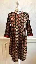 NEW - Black Red Indian Mirror Cotton Smock Kaftan Tunic Ethnic Hippy Dress S 10