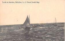 1914 Yacht at Anchor Boats at Dock Great South Bay Babylon LI NY post card