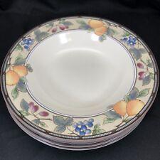 "Set of 4 Mikasa Garden Harvest Soup Salad Bowls 9 3/8"" Diameter Fruit CAC29"