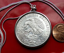 "1968 Mexico Olympics Silver Coin on 30"" 925 Silver Snake Chain"