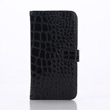 Samsung Galaxy S6 G920 Wallet Case Crocodile Skin Schwarz