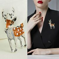 Fashion Lovely Sika Deer Animal Brooch Pin Enamel Wedding Costume Coat Accessory