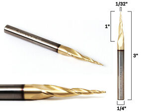 """1/32"""" Tapered Ballnose ZRN Coated CNC Router Bit - 1/4"""" Shank - Yonico 37310-SC"""