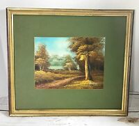 "Original Oil Painting Landscape Trees Signed Duchanelo 7.5""x 10 Framed  15x17"