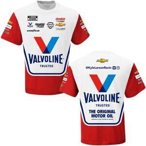 Kyle Larson 2021 #5 Valvoline Uniform NASCAR White Sublimated Race Shirt M L XL
