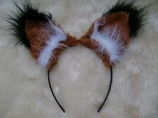 Realistic Chestnut Fox Ears With Black Luxury Faux Fur Tips Fab Fancy Dress