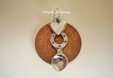 BEAUTIFUL  ' WELSH LOVESPOON ' HEARTS & HORSESHOE STERLING SILVER CHARM CHARMS