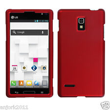 LG Optimus L9 T-Mobile P769 Snap-On Case Cover Accessory Solid Titanium Red