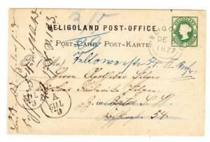 HELIGOLAND Postal Card-HG:1-HELIGOLAND DE/5/1877-TO BERLIN-REDIRECTED