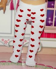 "Doll tights For 18"" American Girl White  with Red Hearts Clothes Accessories"