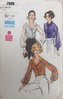 VTG 60s Vogue Pattern Tuck In Blouse With Gathered Sleeves  Size12 Bust 34
