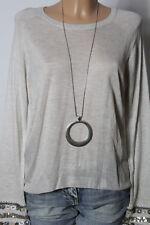 H&M Pullover Gr. S off-white Strick Damen Pullover mit Perlen an den Ärmeln