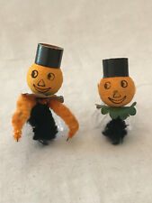 Vintage Rare (2) Halloween Pumpkin with Top Hat / Chenille Pipe Cleaner Figures