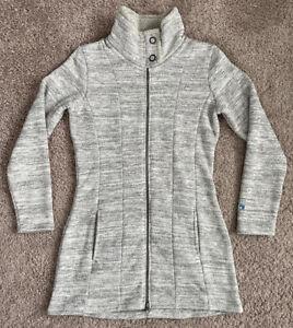 Kuhl Alska Long Sweater Women's S Gray Fleece Zip Jacket Parka Alaska